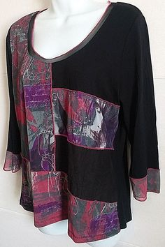DOLCEZZA BLACK PINK ART PATCH WORK 3/4 SLEEVE TUNIC SHIRT TOP BLOUSE LARGE #DOLCEZZA #KnitTop