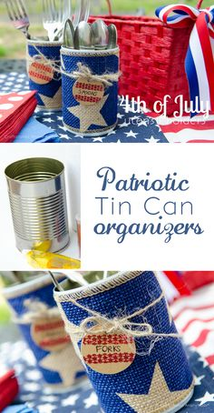 Great way to reuse Tin Cans! Turn them into cute little organizers. These are great for parties. Can put utensils, napkins, straws, sparklers, etc in them.