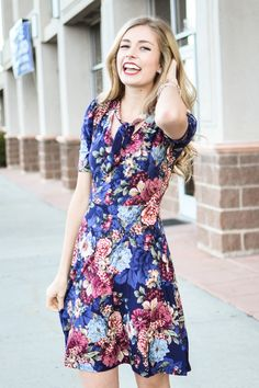 Navy Dress With Mauve Floral