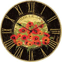 This beautiful oversized clock from Infinity Instruments is a true beauty. The clock features an antique French designed dial and a bright red floral design, and the golden Roman numerals on the clocks oversized face make it easy to read from afar. This clock will bring a French vibe to any decor.