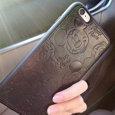 Pu casos de cuero de la historieta de mickey para el iphone 7 6 6 s plus suave blanco negro ratón cubierta de shell duro para iphone 7 7 plus