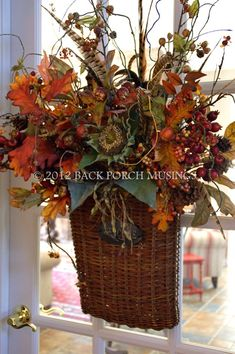 door basket for fall  | repinned by www.imagine.willowhouse.com