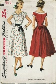 An unused original ca. 1950's Simplicity Pattern 4251.  The wide V neckline in front is deatiled with a band.  Bodice front gathers to band, the short sleeves are cut in one with bodice.  The skirt front has soft pleats at waistline and features back fullness.  View 1 has contrasting neckline and sleeve edge bands.  Bands on View 2 are self fabric, dress features a belt fastening at left front.