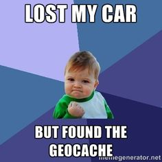 Lost my car But found the geocache...yep. <3 my GPSr's bread crumb trail feature. It's a lot easier NOW to remember to use way points!