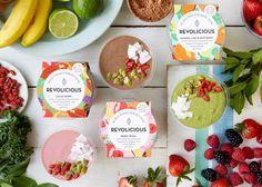 Revolicious - Smoothie Branding & Packaging Design by Mystery Food Branding, Food Packaging Design, Packaging Design Inspiration, Brand Packaging, Branding Design, Design Agency, Design Ideas, Ice Cream Packaging, Honey Packaging