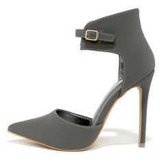 Oohs and Ahhs Grey Nubuck Ankle Strap Pumps ($36) ❤ liked on Polyvore featuring shoes, pumps, grey, pointy toe shoes, shoe republic la pumps, grey pointed toe pumps, nubuck leather shoes and adjustable shoes