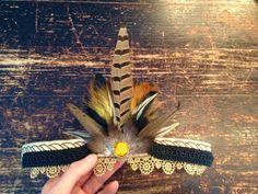 Classic sand tones and black headband with feathers and glass set rhinestone by byRK on Etsy https://www.etsy.com/listing/226335626/classic-sand-tones-and-black-headband