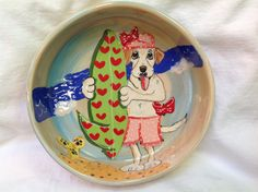 "Hand Painted Ceramic Dog Bowl ""Surfin Miss Daisy"" by Debby Carman Faux Paw Productions by FauxPawProductions on Etsy"
