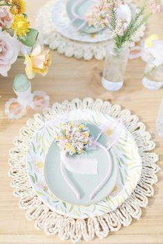 Take a look at the gorgeous table settings with bunny ear headbands on each plate at this Easter party! See more party ideas and share yours at CatchMyParty.com #catchmyparty #partyideas #4favoritepartiesoftheweek #easterparty #easter #easterbunny #eastertablesettings #easterpartydecoraations Easter Dinner, Easter Party, Bunny Ears Headband, Easter Table Settings, Spring Party, Easter Bunny