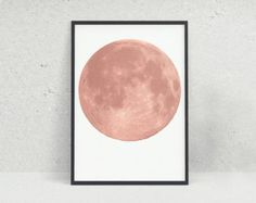 Rose Gold Moon Wall Art Print Modern Full by AllureHomewareStore Wall Art Prints, Poster Prints, Copper And Pink, Triangle Art, Rose Gold Decor, Moon Print, Gold Art, Geometric Art, Printable Art