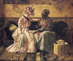 Although La Madama is not part of African American conjure culture, the spirit of a deceased black card reader or palm reader is definitely found in African American culture. Here is a portrait from life of just such a woman. It was painted by the American artist Harry Roseland and shows a black woman giving a young, white client a reading