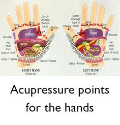 Acupressure Points for the Hands ~Simply press and hold for a few seconds to a minute, repeating a few times. You can also use essential oils to massage into the points that need work. http://www.douantpools.com/