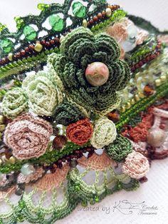 Crochet cuff bracelet Beaded crochet cuff Crochet floral