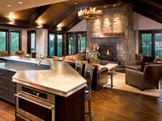 Amazing Open Concept Kitchen Living Room Designs---really like this. Super homey.