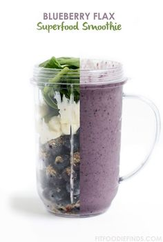 A powerhouse superfood smoothie made with blueberries, flax seed, spinach, and coconut milk. via FitFoodieFinds.com