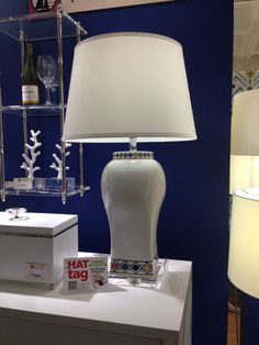 The chic Jewels lamp by Port 68 pairs a bright white glaze with bold pops of color. #HATtag #atlmkt