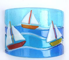 FUSED GLASS ART CURVED PICTURE, SAILING BOATS | eBay