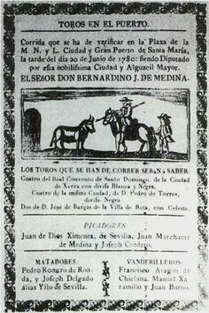 Cartel de toros. Corrida en el Puerto de Santa María anunciando a los matadores Pedro Romero de Sevilla y José Delgado Pepe Hillo de Sevilla. 1780