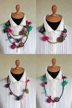 Multicolor fiber necklaces crochet textile felt and by rRradionica, $198.00