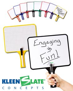 Kleen Slate - double-sided dry erase paddle with a marker complete with eraser tip to help kids interact in the classroom. kleenslate.com