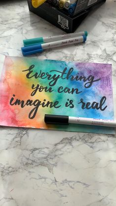 Create your own reality; it is possible if only you can imagine it. Spread the news to your friends and family with these simple yet magical cards. Hand Lettering Art, Hand Lettering Tutorial, Graffiti Lettering, Brush Lettering, How To Write Calligraphy, Calligraphy Pens, Letter A Crafts, Letter Art, Paint Pens For Rocks