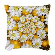 Fractal Daisy Glow Spiral. Woven Throw Pillow > Fractal Daisy's Glow Spiral > Rosemariesw Digital Designs