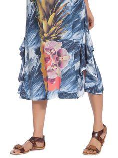c1fb1d3b0 Saia Com Babado Abacaxi Floral Marinho Mar - aguadecoco