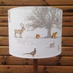 Drum lampshade-British Woodland Fabric by Lightflightlighting