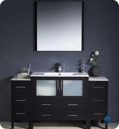 Espresso Single Modern Bathroom Vanity with 2 Side Cabinets