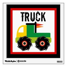Cool Monster Truck Nursery Kids Wall Decal.  Removable wall decal won't damage walls.  Buy three different designs and make a truck collage with them.