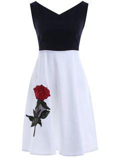 Sweet V Neck Splice Embroidered Women's Dress