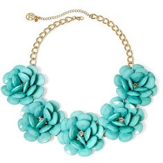 Mixit Gold-Tone Mint 3D Flower Statement Necklace (250 ARS) ❤ liked on Polyvore featuring jewelry, necklaces, accessories, mint green statement necklace, sparkly statement necklace, flower necklace, blossom necklace and flower jewelry