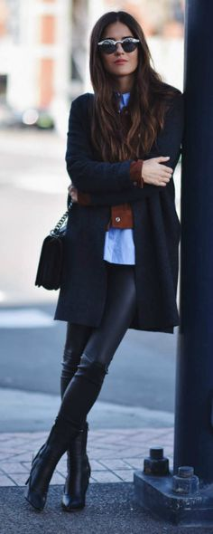 Layering + classy and elegant style + Paola Alberdi + leather leggings + multiple layers + blouse + cardigan, + navy overcoat  Coat: COS, Jacket: Sanctuary Suede Jacket, Blouse/Leggings: LXE, Boots: Max Mara.