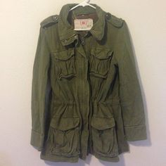 Army Green Trench Coat Army Green Trench coat in a kind of sweatshirt material. Gap size medium but I'd say it fits like a woman's Large, or men's small. 100% cotton. Very cute & comfortable! GAP Jackets & Coats Trench Coats