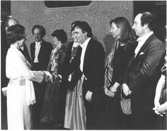 HM the Queen, Patron of the LSO, meets Principal Conductor Claudio Abbado during the opening of the Barbican Centre, 1982. (Claudio's wife, Gabriella Cantalupi, is standing on his left). http://lso.co.uk/orchestra/history/gallery.html