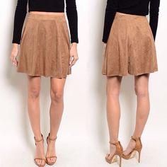 Camel faux suede skater skirt Suede has made its way back onto the Spring 2016 runways! Camel colored faux suede skirt. 92% polyester/8% spandex. Sizes available S & L. Will list at $35. Last picture is for style suggestions only and do not represent actual skirt. Skirts
