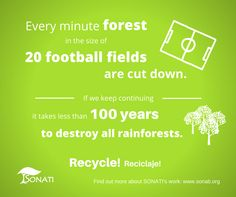 Every minute forest in the size of 20 football fields are cut down. www.sonati.org #recycle