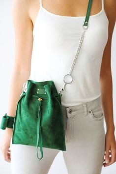 Crossbody Bag, Leather Bucket Bag, Green Leather Bag, Small Purse - Leather Bags and Pouches - Leather Pouch, Leather Crossbody Bag, Leather Purses, Crossbody Bags, Satchel, Bucket Bag, Cordon En Cuir, Small Crossbody Purse, Hip Bag