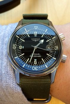 Longines Legend Diver on Olive NATO