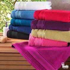 Conforto, maciez e beleza. Dá pra levar tudo isso pro banho. Além de envolver você com muito conforto, as toalhas embelezam e ajudam  a incrementar a decoração do seu banheiro. #LojasTenda, a sua moda.  *Imagem meramente ilustrativa