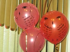 Harry Potter Party: balloon owls; the upside down one was Ron's which kept dying... lol
