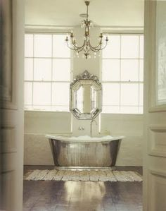 bathtub for a princess  Whitney wants a bathroom like this with a bunch of chandeliers