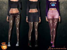 Halloween Dancing Skeleton Glow In The Dark Tights by Harmonia at TSR via Sims 4 Updates