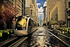 Downtown Houston, Texas - Light rail will take you North/South from UHD to Reliant Stadium. Very pretty. We should have these in Pittsburgh.