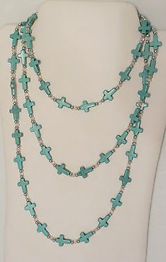 """COWGIRL Bling TURQUOISE CROSS Southwestern Gypsy 90"""" LONG ! NECKLACE SET  BEAUTIFUL!! our prices are WAY BELOW RETAIL! ALL JEWELRY SHIPS FREE! baha ranch western wear ebay seller id soloedition www.baharanchwesternwear.com"""