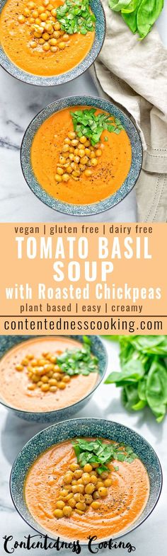 This Tomato Basil Soup with Roasted Chickpeas is entirely vegan, gluten free and so insanely delicious. The roasted chickpeas takes it to a whole new level. A great dairy free lunch, dinner which is so full of flavor and protein rich.