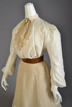 "edwardian-time-machine: "" Ensemble of the day: Cotton blouse with collar and jabot and linen skirt, American, ca. 1905. Source """