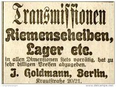 Original-Werbung/ Anzeige 1907 - TRANSMISSIONEN / RIEMENSCHEIBEN GOLDMANN BERLIN KRAUTTSTRASSE  - ca. 55 x 40  mm