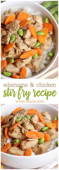 Edamame Chicken Stir Fry - a super quick and simple recipe. A stir fry consisting of chicken, edamame, and carrots... Delicious over rice!!