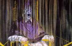 """Francis Bacon, Study after Veláquez's Portrait of Pope Innocent X, Detail (1953). This was the image I used for my reflection on capital punishment. Though Bacon was attempting to conveying feeling and raw emotion with this selection of colors, the fact that it was a pope (no less named """"Innocent"""") and that it had an """"electric chair"""" quality to it made it somewhat apropos at the time for writing on the subject."""